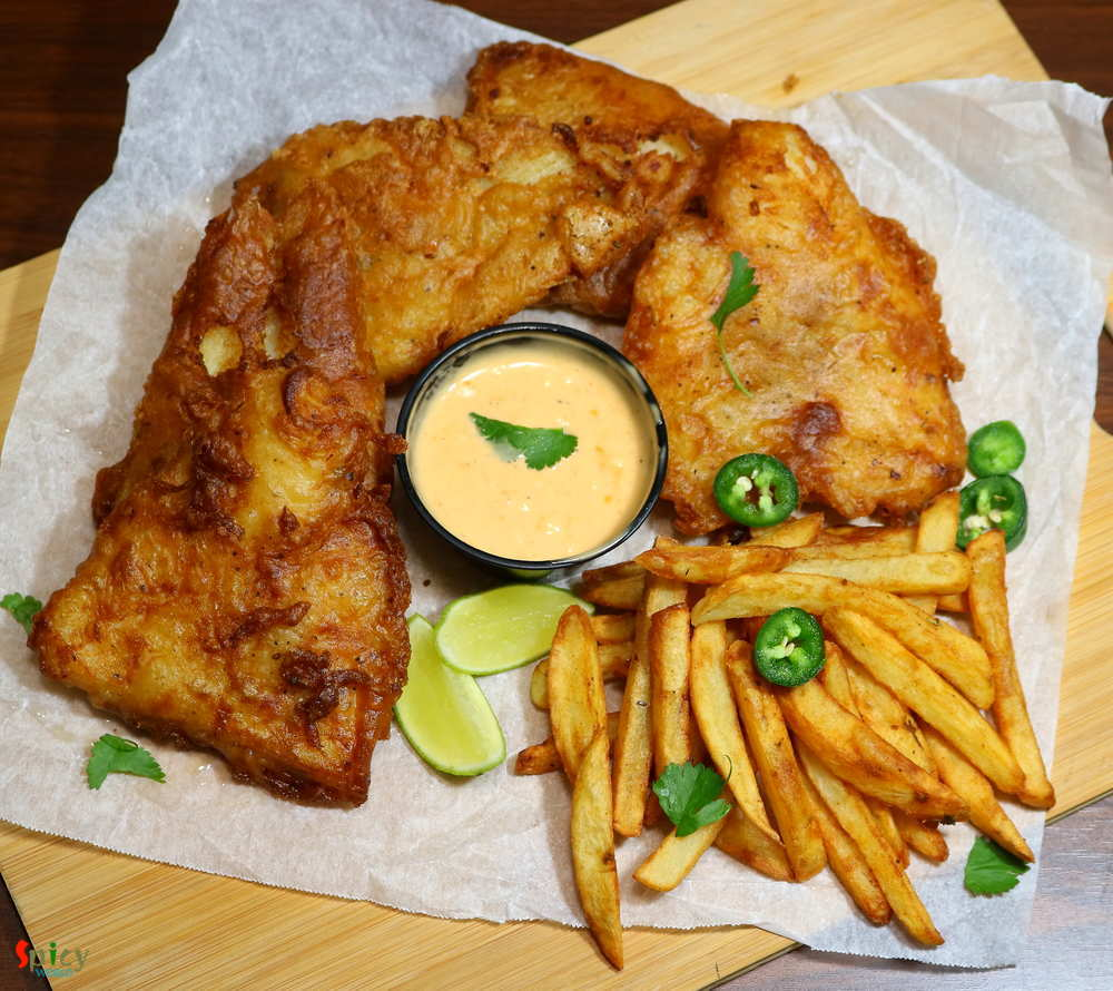 Homemade Fish and Chips with Chipotle Mayo sauce