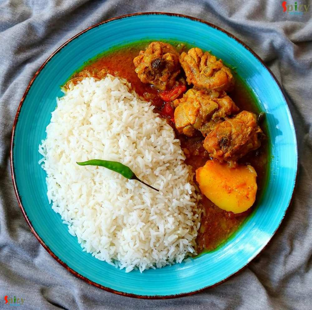 Rice, Chicken curry