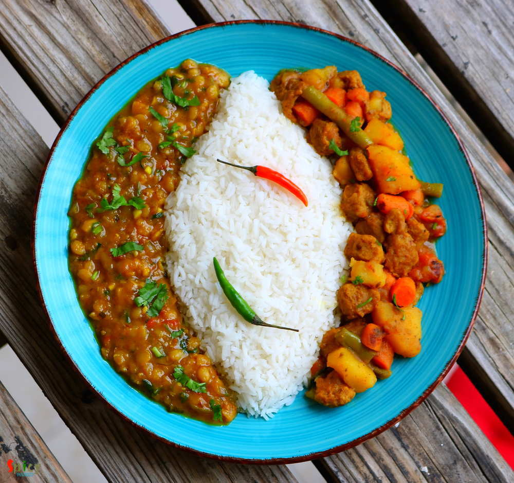 Rice,Daal,Vegetable dry Curry
