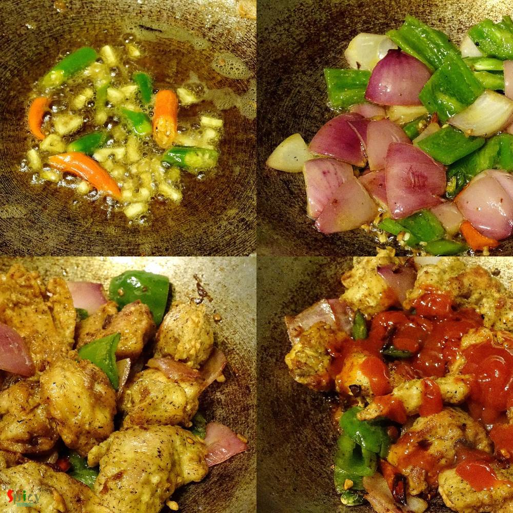 Cooking Step: Chilli Chicken (Kolkata Style)