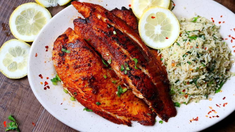 Grilled Fish & Spinach Rice