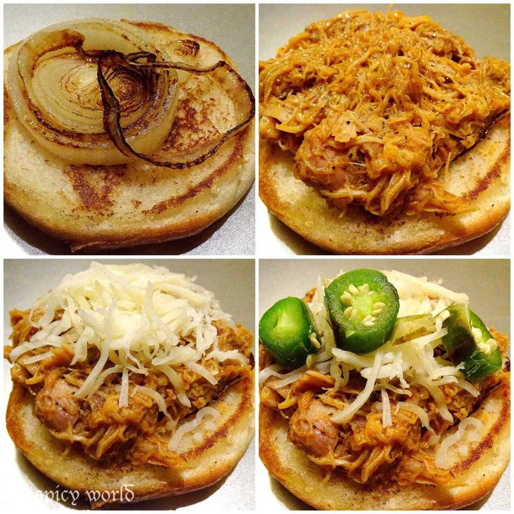 Cooking Step: Pulled Chicken Burger